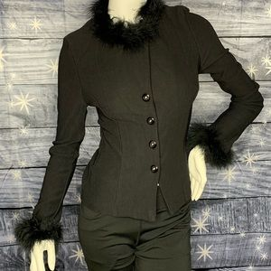 Patty Tops - Black Button-down Top with Feather Ruffles - Chic!